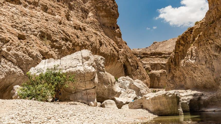 Wadi Bhani Khalid - Water vindt zijn weg naar de rotskloven