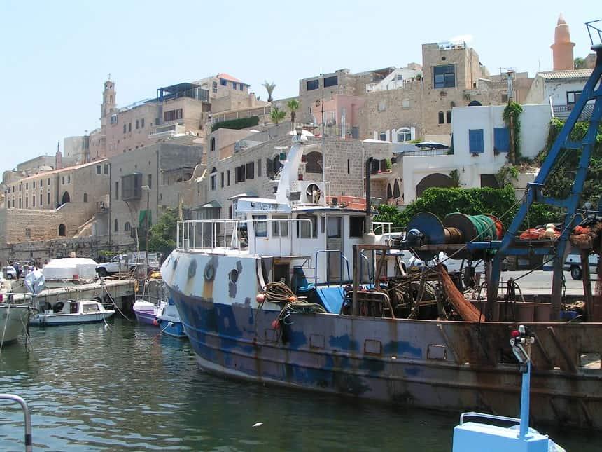 De haven van Old Jaffa