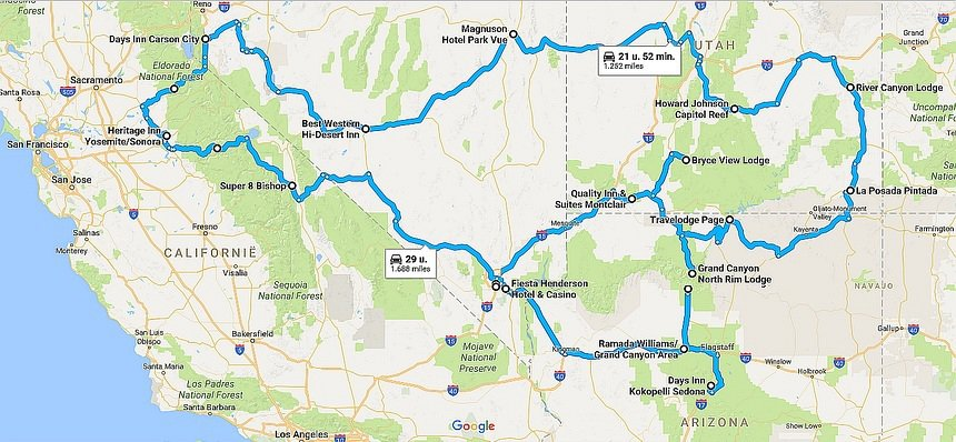Roadtrip USA: 5000 km door Arizona, Nevada, California en Utah. Vertrek en eind: Las Vegas.