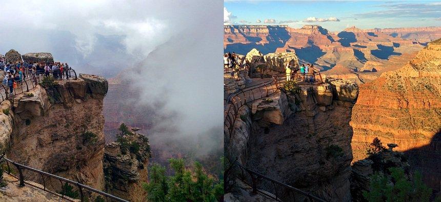 De Grand Canyon verandert de hele dag: 's ochtends mist, 's avonds in volle glorie.