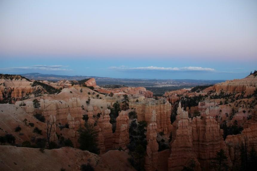 De zonsondergang in Bryce Canyon is fantastisch