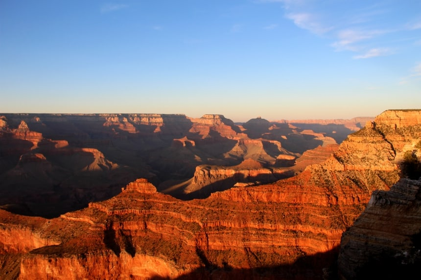 De zonsondergang in de Grand Canyon is fantastisch!