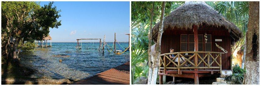 Relaxen bij de lagune van Bacalar in Yucatán, Mexico