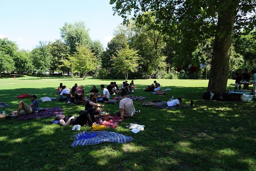 Picknick in het park met traditionele Hongaarse lekkernijen