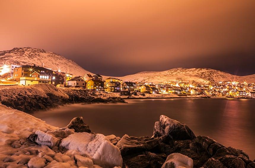 Skyline, Honningsvag, Finnmark, Noorwegen