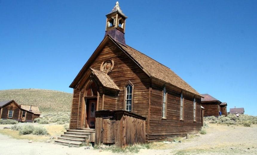 De kerk in Bodie - de mooiste Ghost Town in de VS.