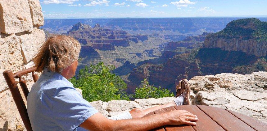 Ik blijf nog even genieten bij de Grand Canyon Lodge.