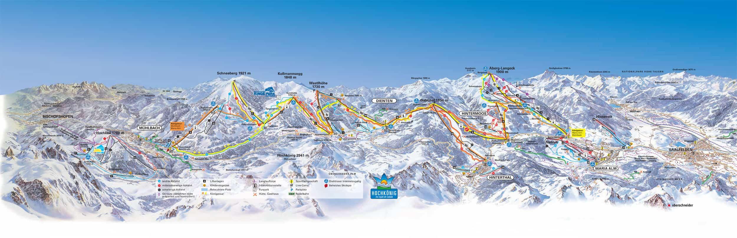 Skipiste kaart van het Hochkönig skigebied
