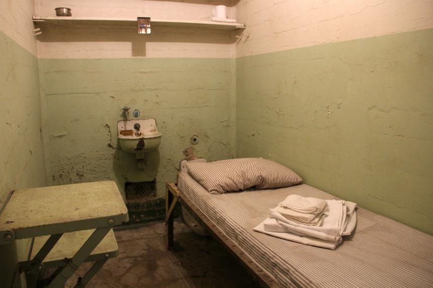 Een gevangeniscel in Alcatraz