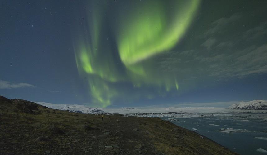 Jokulsarlon met het prachtige noorderlicht