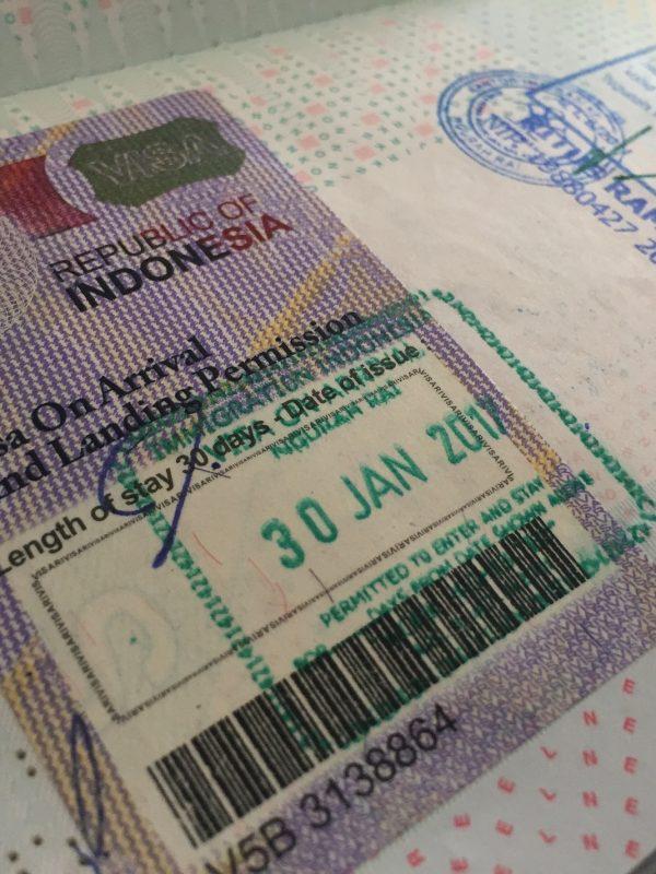 visa on arrival indonesie