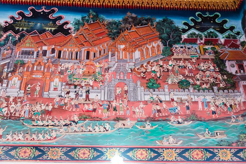 Muurschildering in Wat Okat