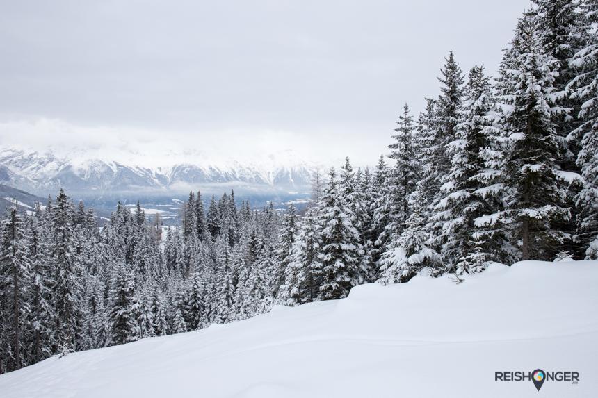 Snowshoe hiking: naarmate we hoogte winnen ontvouwt zich stukje bij beetje een prachtig uitzicht