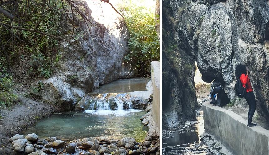 Handgrepen in de rots zorgen ervoor dat je de rots kunt passeren
