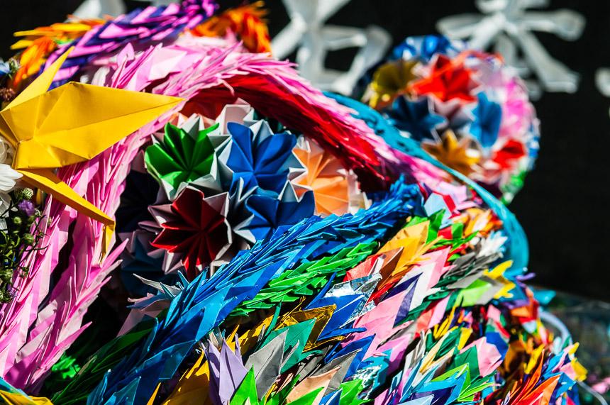 Papieren kraanvogels in Hiroshima