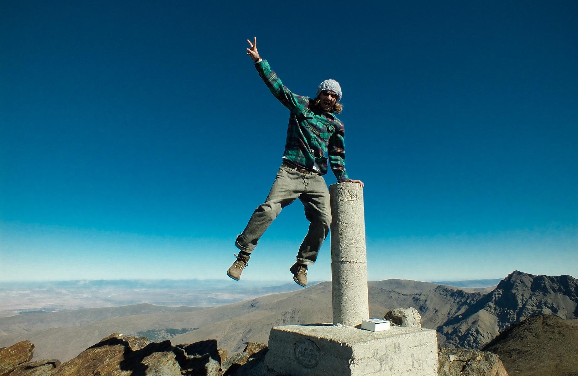 De top van de Mount Mulhacen