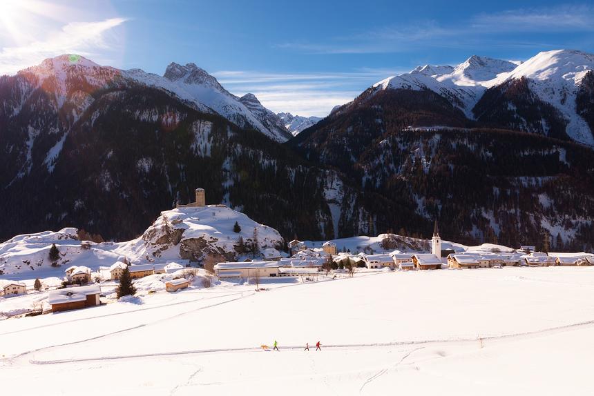 Skyline Ardez, Unterengadin Zwitserland