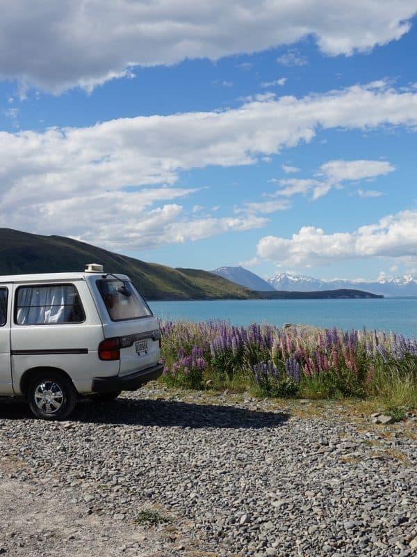 Een van de mooiste (gratis) plekken waar wij stonden met de camper: Lake Tekapo, een must see!