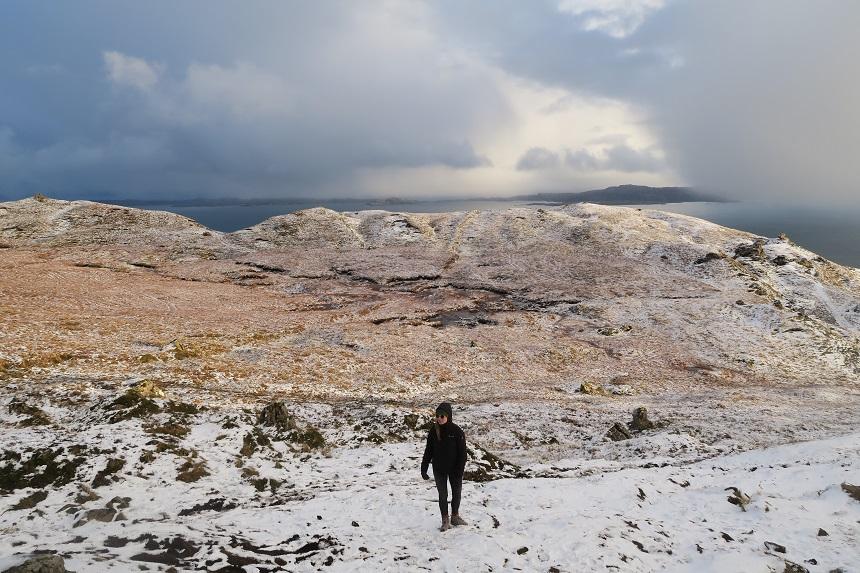 The Old Man of Storr: in de sneeuw op de berg