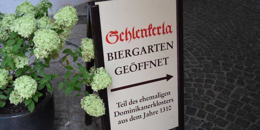 Biergarten in Bamberg, Duitsland