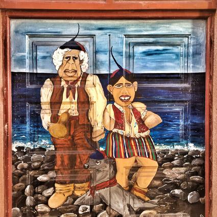 Beschilderde deur in Rua de Santa Maria, Funchal, Madeira