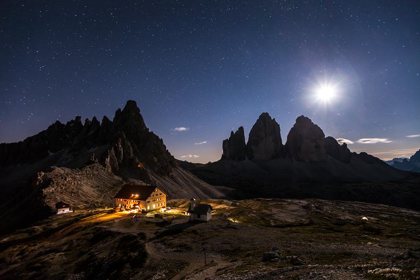 Heldere nacht in de Dolomieten