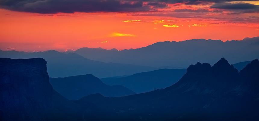 Zonsondergang vanaf de top van Lagazuoi