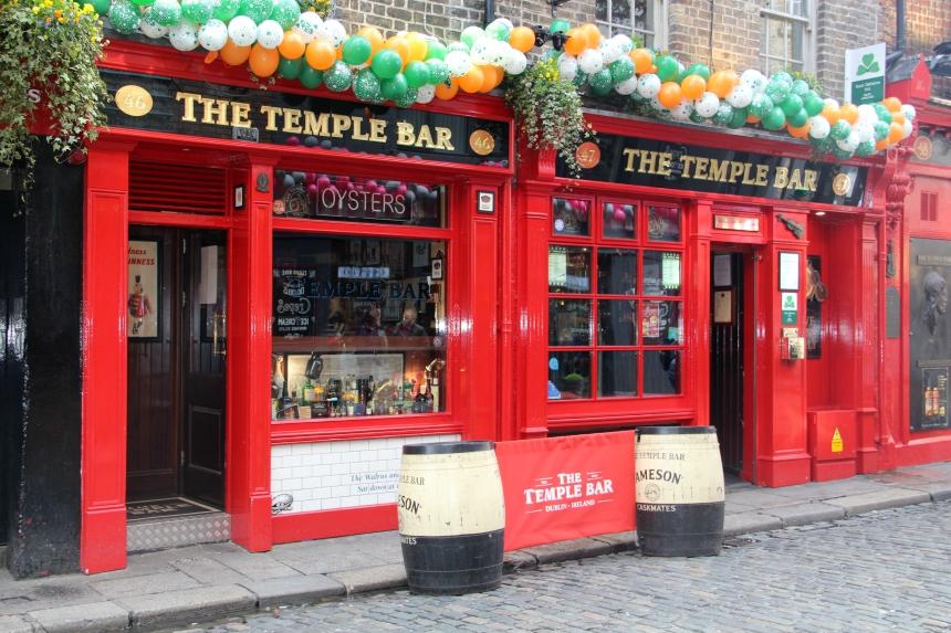 Temple Bar district is het uitgaansgebied van Dublin in Ierland