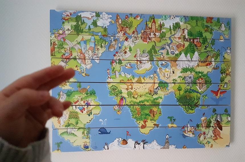Wereldkaart voor de kinderkamer: Onze dieren en gebouwen