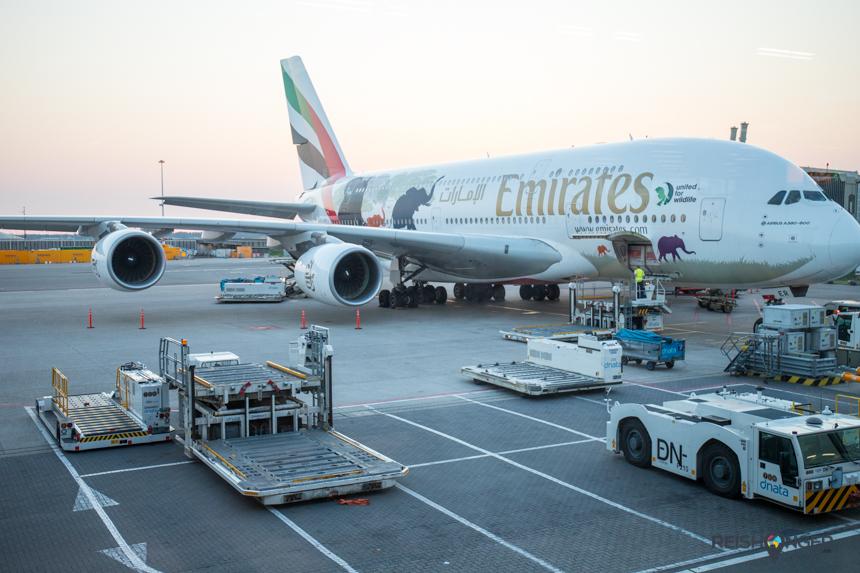 De twee verdiepingen hoge A380 is werkelijk reusachtig
