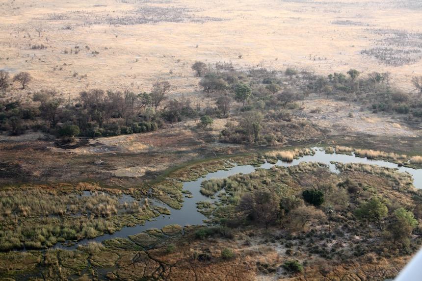 De Okavango Delta in Botswana van boven