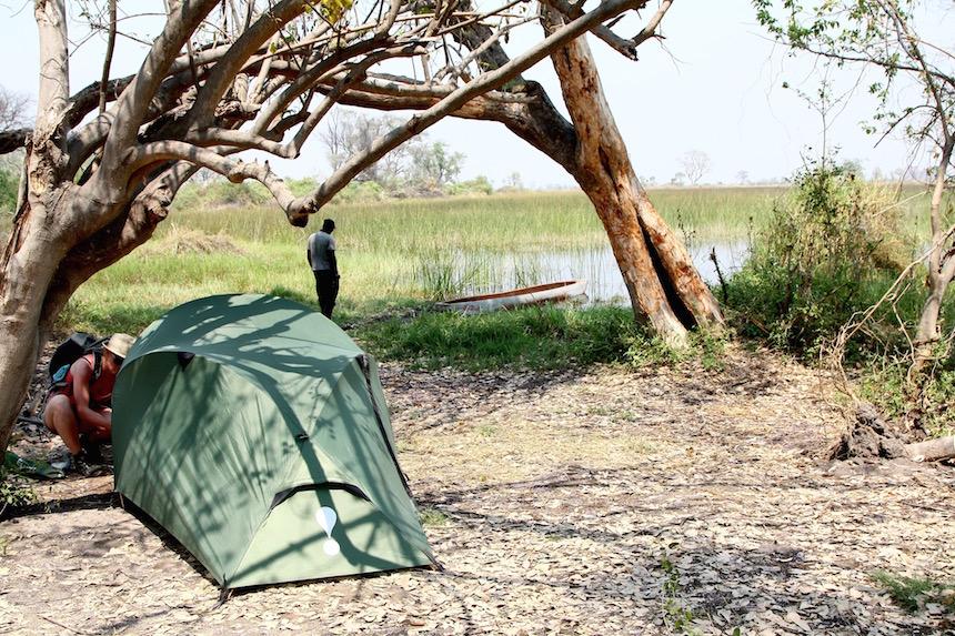 Tentje aan de Okavanga Delta vanuit Maun, Botswana