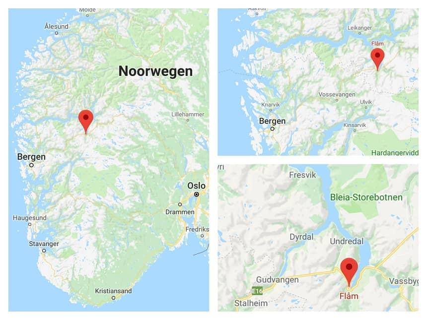 Locatie van Flam aan de Aurlandsfjord in Noorwegen