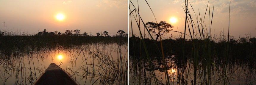 Zonsondergang op de Okavango Delta in Botswana