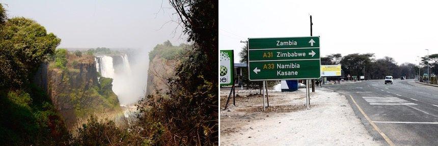 Victoria Falls vanuit Zimbabwe, verkeersbord Botswana