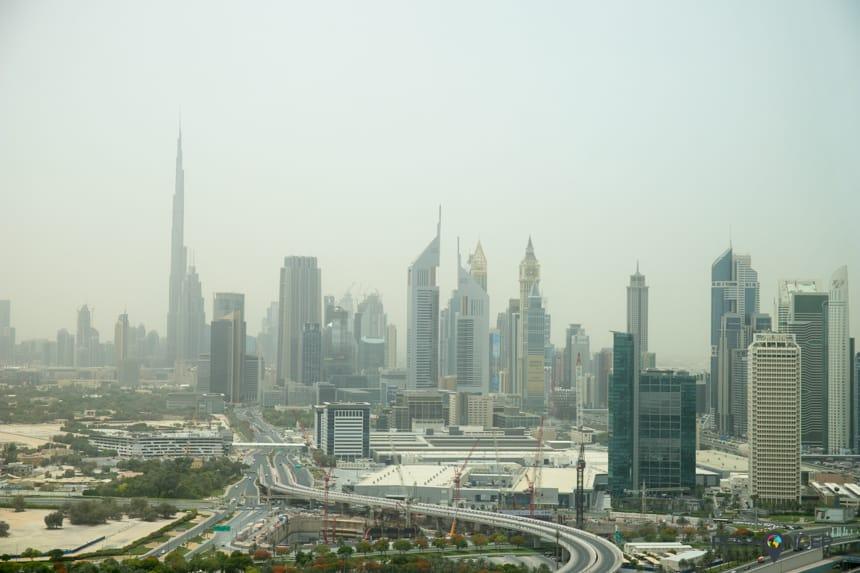 Uitzicht op de stad vanaf Dubai Frame