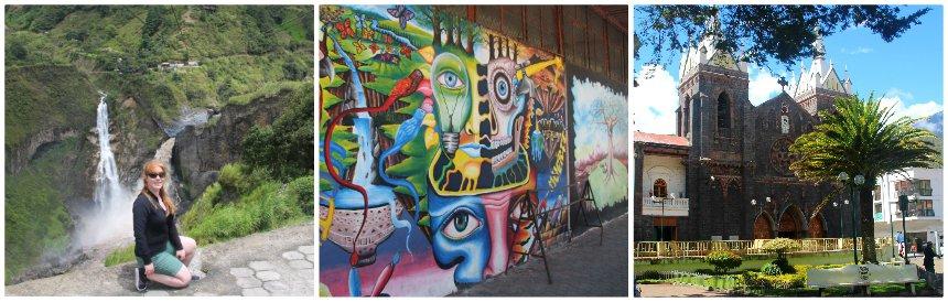 Het kleurrijke plaatsje Banos heeft straten gevuld met street art