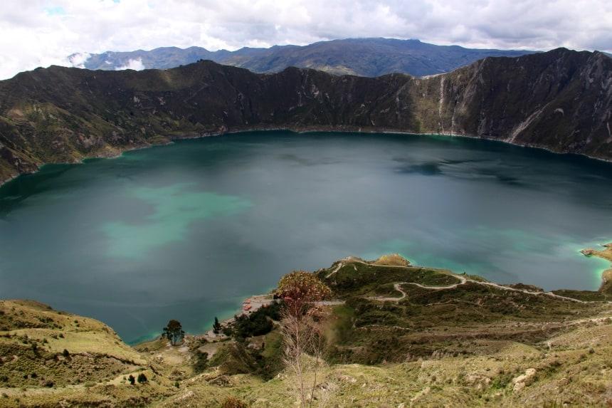 Het Quilotoa meer ligt op 3800 meter hoogte