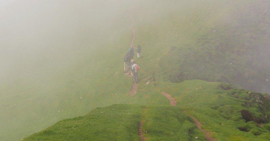 Wandelen op vogeleiland Mykines: mist en zon wisselen snel.