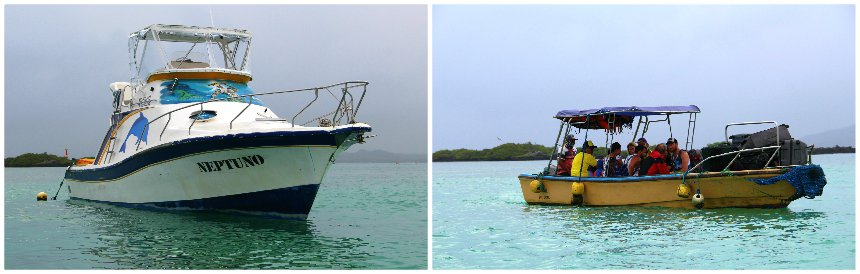 Het vervoer tussen de eilanden van de Galapagos gaat met kleine bootjes