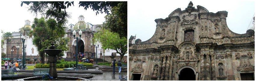 Historische gebouwen in het koloniale centrum van Quito in Ecuador