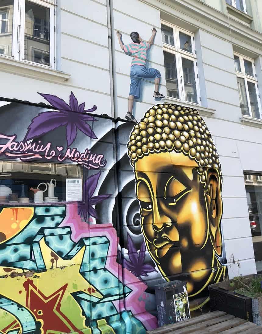 Streetart in de hippe wijk Vesterbro