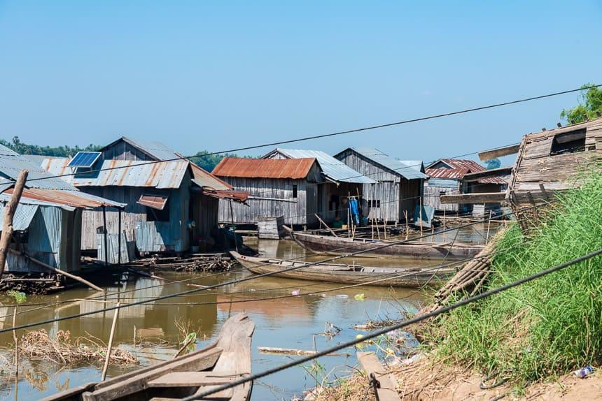 Drijvend dorp in de Mekong