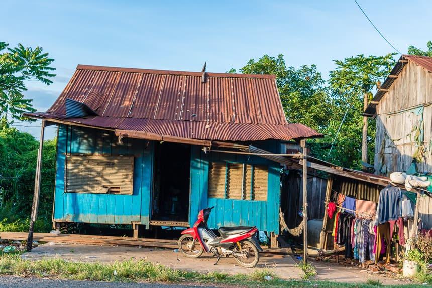 Huisje langs de Mekong