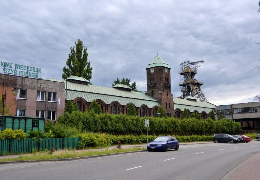 Eén van de recent gesloten koolmijnen in Katowice