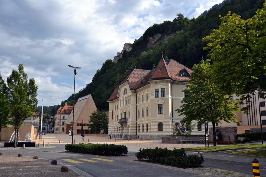 Het centrum van de Liechtensteinse hoofdstad Vaduz