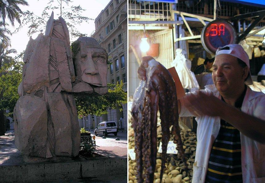 Monument voor de Indianen en inktvis op de markt in Santiago de Chili