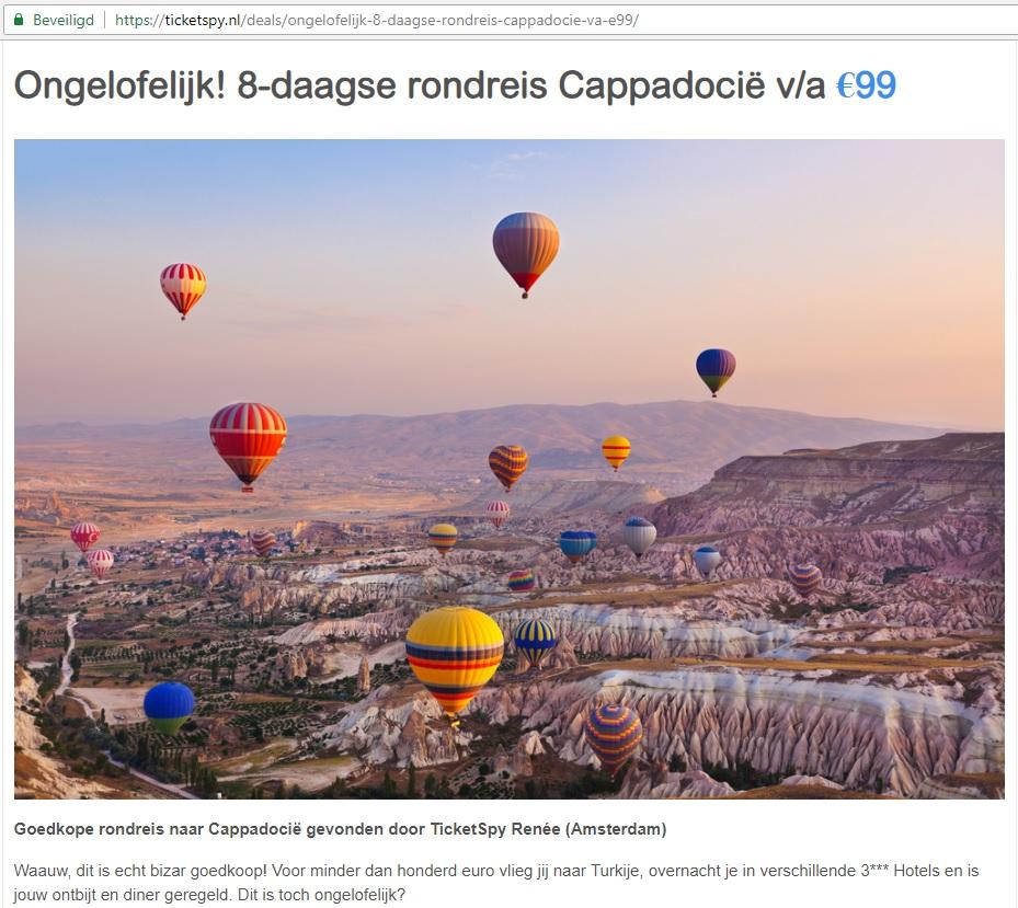 Aanbieding Cappadocië Ticketspy