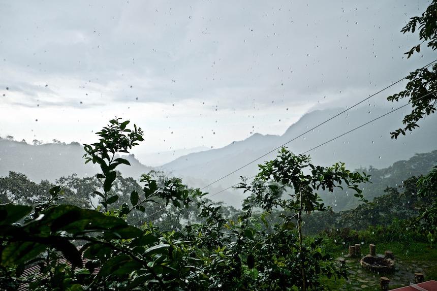 Tropische bui in Minca in de Sierra Nevada van Colombia