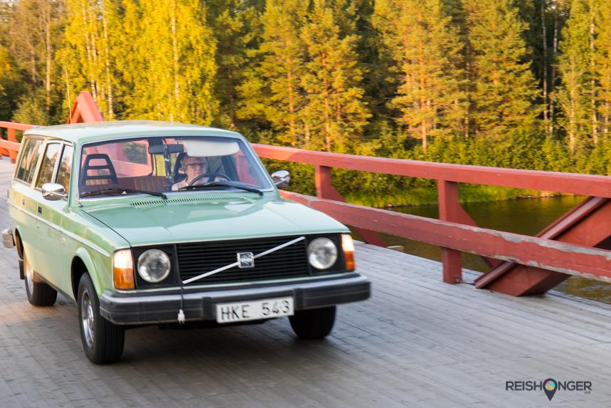 Klassieke auto in Zweeds Lapland